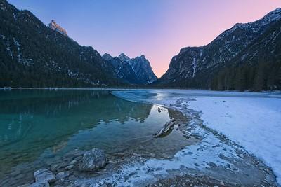 Dobbiaco frozen lake