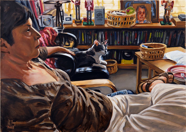 Woman and Cat; oil on canvas, 34 x 48 in, 2017