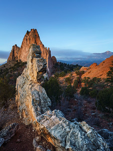 First light on Gray Rock.  Garden of the Gods.