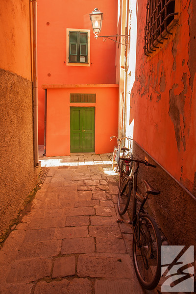 "(38) -Street Scene w/ bikes (right) - Monterosso al Mare, Italy - 16"" x 24"" canvas wrap (was $210) now = $100"