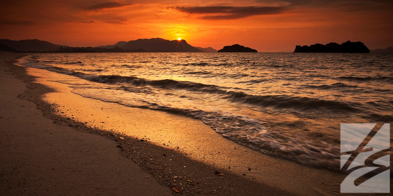 "(50)  - Sunset - Langkawi, Malaysia - 12"" x 24"" metal print (was $150) now = $75"
