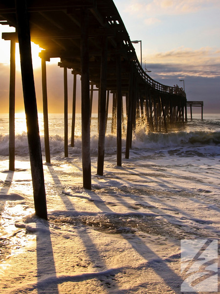 "Two options:  (2) - Avon Pier Sunrise - Avon, North Carolina - 20"" x 30"" - metal print (was $250) now = $175  or   (16) - Avon Pier Sunrise - Avon, North Carolina - 16"" x 24"" metal print (was $200) now = $140"