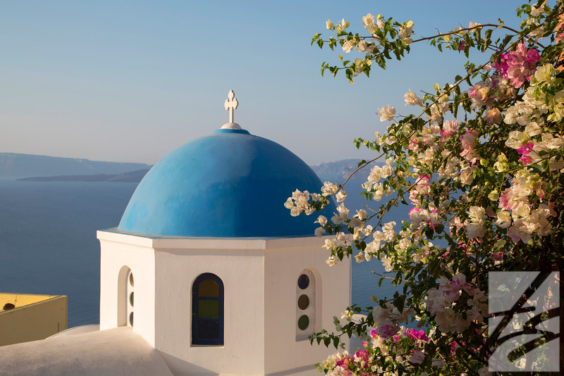 "(30)  - Blue Dome - Santorini, Greece - 12"" x 18"" metal print (was $150) now $75"