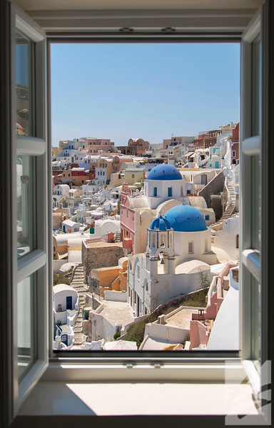 "(9) - Window View - Oia, Greece - 14"" x 22"" black framed canvas wrap (was $265) now = $130"