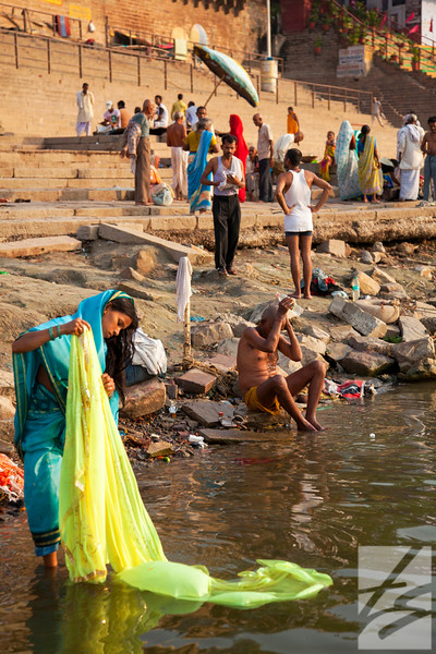 "(18)  - Woman along the banks of the Ganges - Varanasi, India - 16"" x 24"" metal print (was $200) now = $100"