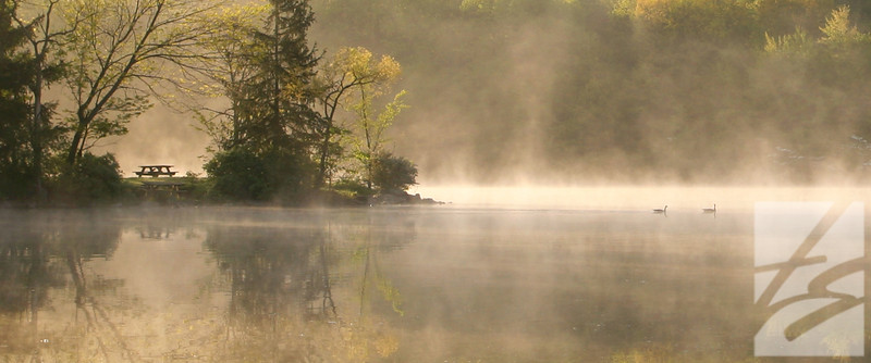 "(63)  - Foggy Reflections - Findley State Park - Wellington -12"" x 30"" canvas wrap (was $150) now = $75 - Also available in 25"" x 60"" canvas wrap"