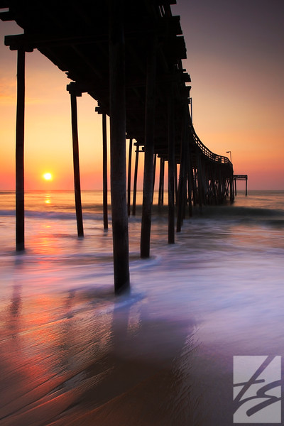 "(53)  - Under the Pier - Avon, North Carolina - 36"" x 54"" framed metal print (was $1450) now = $725"