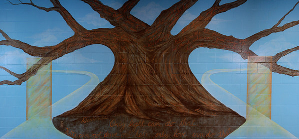 "5.   Close-up of Tharp-Perrin mural ""Wisdom Tree,"" commissioned by the Superintendent of the Marion County Juvenile Detention Center to create a wall of inspiration. 33 x 9.5 ft, acrylic on concrete block. 2010"