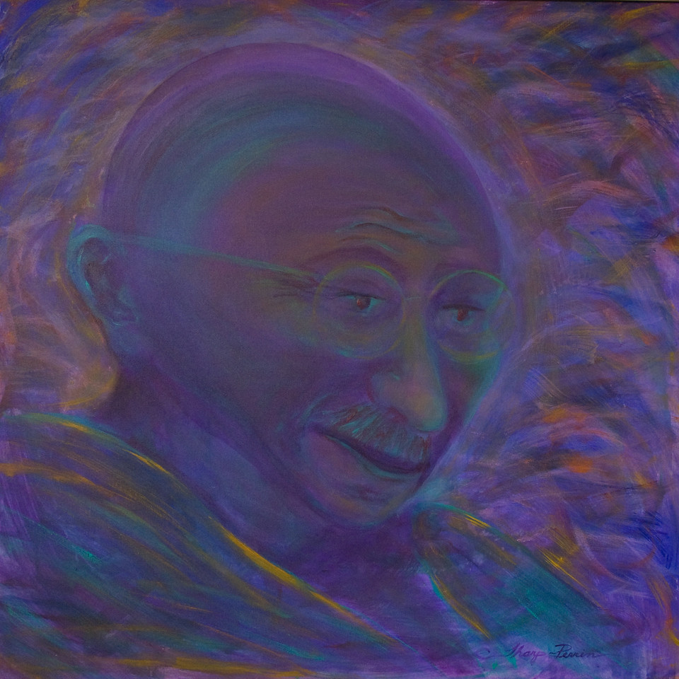 "4.   ""Gandhi."" People, Paint & Percussion performance painting by Carol Tharp-Perrin, acrylic on canvas 4 ft. x 4 ft., 2008"