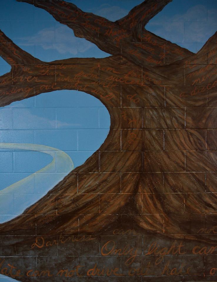 """10. """"Wisdom Tree"""" mural, left detail. 2010"""