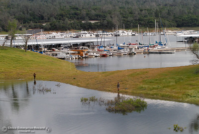 As Lake Oroville's level rises water fills in the boating area at Bidwell Canyon Marina Monday April 11, 2016 in Oroville, Calif.  (Emily Bertolino -- Enterprise-Record)