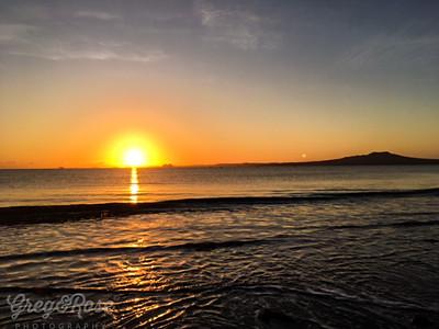 Sun and moon on the horizon