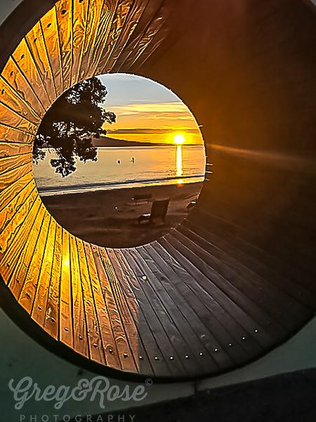 Sunrise through a revolving tunnel