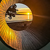 Sunrise through a revolving tunnel