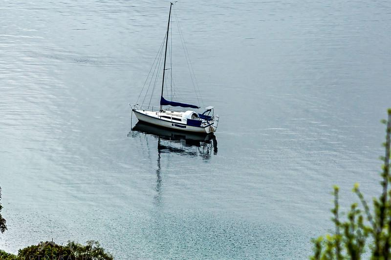 Yacht Moored in Acacia Bay , Taupo