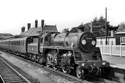 BR Standard 4MT 2-6-0 no. 76010 at Boscombe station on 19/4/53. 76010 was a Horwich works product but spent its entire working life on the Southern. It was Eastleigh allocated from new and would be withdrawn in September 1966 whilst allocated to Bournemouth mpd. [Mike Morant collection]