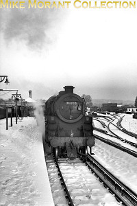 Salisbury allocated BR Standard 4MT 4-6-0 no. 76055 surrounded by snow in January 1963 at Dorking North on the Central Section. What does the headcode signify? [Mike Morant collection]
