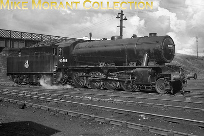 Austerity 2-8-0 no. 90306 ex-works at Eastfield  following a Heavy General at Cowlairs Works which was when the BR branding was applied re-entering service on 27/8/1949 which was probably when this shot was taken. 90306 had been built by NBL, works no. 25300, in February 1944 and was allocated to Dunfermline shed at the time but would move to England in 1951 (Accrington) and following several moves in the North West would be withdrawn at Barrow Hill mpd on 19/6/1965. [Mike Morant collection]