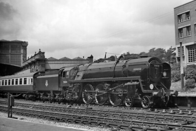 BR Standard 7MT 'Britannia' pacific no. 70014 Iron Duke in charge of a Waterloo-bound expresss at Bournemouth Central station on 14/6/51. 70014 was allocated to Nine El;ms from June until October of that year and then moved across the way to Stewarts Lane. [Mike Morant collection]