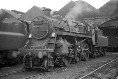 BR Standard 3MT 2-6-0 no. 77008 at Motherwell shed in July or August 1964. [Mike Morant]