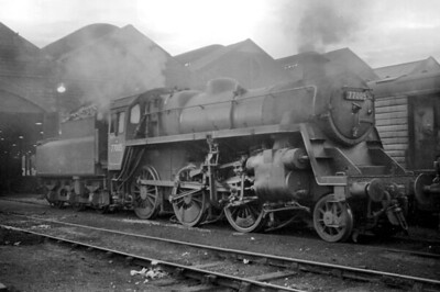 BR Standard 3MT 2-6-0 no. 77005 at Motherwell shed in July or August 1964. [Mike Morant]