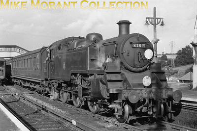 BR Standard 3MT 2-6-2T no. 82015 in charge of pre-grouping stock at Alton station on 1/9/57. 82015 was a Southern engine from new in August 1952, allocated to 71A Eastleigh when this shot was taken, and would remain so until withdrawal at Nine Elms mpd in December 1964. [Mike Morant collection]