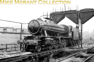 Uncharacteristically clean Austerity WD 2-8-0 no. 90533, a Newton Heath engine when this shot was taken, is depicted here  at Gorton mpd on 2/10/62 following a Heavy Classified overhaul at Gorton works . 90533 would rumble on for another four years and would be withdrawn at Colwick in February 1966. [Mike Morant collection]