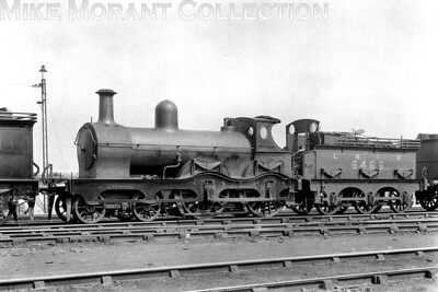 LNER, double-framed, D12 class 4-4-0 no. 6466 at Annesley shed on 6/6/1926. This was a Sacré design for the Manchester Sheffield & Lincolnshire Railway built in September 1877 and classified as 6B with the fleet no. 430. The GCR, which had absorbed the MS&LR, put it on its duplicates list with the number 430B. Reclassified D12 and renumbered 6466 by the LNER, this loco was the penultimate member of the class to be withdrawn in October 1926 although the last survivor wasn't withdrawn until 1930. Note the tender weatherboardwhich was fitted to some D12's after they were relegated to secondary duties in Lincolnshire in the 1890's.   [H. C. Casserley / Mike Morant collection] Background notes: RCTS LNER Locos part 3B)