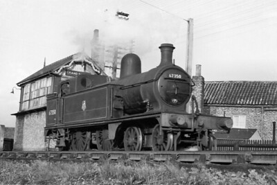 Ivatt C12 4-4-2T no. 67350 alongside Grand Sluice signal box just north of Boston station on 24/10/53. [Mike Morant collection]