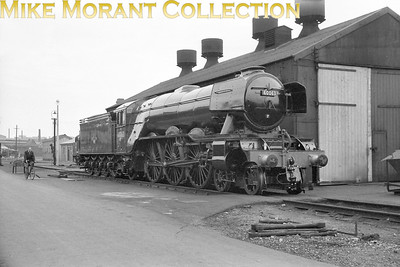 Gresley A3 pacific no. 60063 isinglass newly painted at Doncastere works. This was probabnhly taken in August 1962 following 61 days in works for a general overhaul. [Mike Morant collection]
