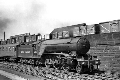 The BR branding, numbering and mixed traffic lined black livery had only recently been applied to Gresley V2 class 2-6-2 no. 60888 when HCC took this photo at Dundee on 18/6/49. 60888 had been an Aberdeen (Ferryhill) allocated loco since 1945 and would remain there until withdrawal on December 29th, 1962. [H. C. Casserley / Mike Morant collection]