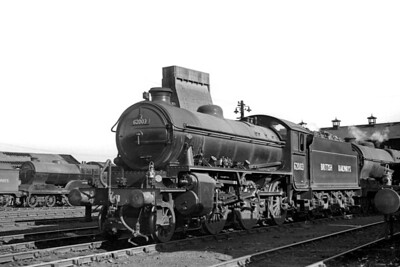 Peppercorn K1 class 2-6-0 no. 62003 at Glasgow's Eastfield shed on 19/6/49. The loco was brand new out of the nearby NBL works and has no shed plate affixed but it was officially allocated to Darlington mpd when this shot was taken. 62003 would be withdrawn in June 1965 whilst allocated to Darlington mpd. [H. C. Casserley / Mike Morant collection]