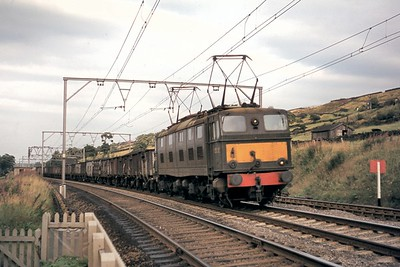 Green liveried, BR, EM1 class Bo-Bo electric locomotive no. E26012 at Millhouse Green crossing just to the west of Thurlstone signal box on an unrecorded date in 1969. [Mike Morant collection]