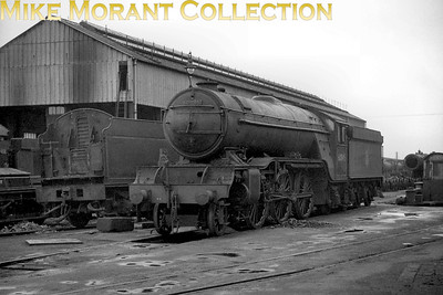 Gresley V2 class 2-6-2 no. 60845 coupled to a Collett tender at Swindon on 23/3/53. 60845 was loaned to the western Region for comparitive trials twice in 1952. This shot was taken near the end of the second loan period as she was returned to her home shed of New england on 5/4/53. [Mike Morant collection]