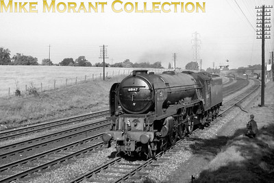 Peppercorn A1 pacific no. 60147 Great Eastern runninjg light at Wymondley on an unspecified date in 1961. 60147 wears a 52B Heaton shed plate in this shot. [A. E. 'Dusty' Durrant / Mike Morant collection]