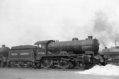 Accident damaged Gresley D49 'Shire' class 4-4-0 no. 62706 Forfarshire at Perth shed on 19/6/49. 62706 was a Haymarket engine when this shot was taken and would be withdrawn as a Thornton Junction engine in February 1958. [H. C. Casserley / Mike Morant collection]