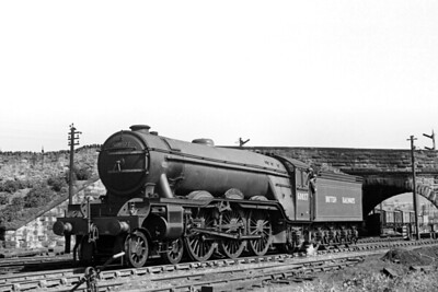 Gresley A3 pacific no. 60037 Hyperion in LNER apple green livery but BR branded at Perth on 18/6/49. [H. C. Casserley / Mike Morant collection]