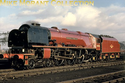 Ex-works Stanier/Ivatt 'Coronation' 8P pacific no. 46256  Sir William A. Stanier F.R.S. poses at Crewe North shed in April 1962. The slide isn't firmly dated but it's reasonable to assume that it was taken during an SLS works and sheds visit on April 8th. Crewe North was 46256's home shed at the time and that's where withdrawal would come in the week ending 3/10/64. [Ken Cooper / Mike Morant collection]