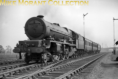 LMSR Stanier Princess Royal pacific no. 6205 Princess Victoria at Caldecote (near Nuneaton) on August 20th, 1937. Pity this isn't crisp but it's worthy of display for the rolling stock with the rearmost coach remaining unidentified thus far. [Mike Morant collection]