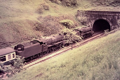BR: Last Days of Steam 2/6/68 Double-headed careworn Stanier '5MT 4-6-0's nos. 45407 and 44874 about to enter the north portal of Wilpshire tunnel between Clitheroe and Blackburn. This is a little know railtour for which there is a small amount of photographic evidence but it is not mentioned on the sixbellsjunction web site. [Mike Morant collection]