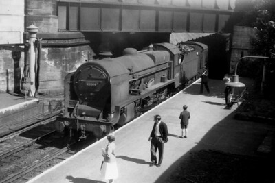 Fowler 'Baby Scot' or 'Patriot' 4-6-0 no. 45504 Royal Signals arrives at Cheltenham (Lansdown) station on 13/5/61. 45504 was allocated to Brisol Barrow Road shed at the time and would be withdrawn there during March 1962. [H. C. Casserley / Mike Morant collection]