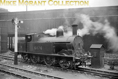"LMSR, Webb designed 0-6-2T 18"" Passenger Tank no. 6876 at Birmingham, New St. but not dated. [Mike Morant collection]"