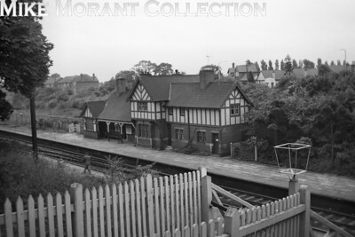 The erstwhile Manchester Sheffield & Lincolnshire Railway's mock Tudor main station structure at Blacon which was the first station to the west of Chester Northgate on the line to Birkenhead. Blacon station had opened in 1890 and was closed to all traffic on September 9th, 1968. Sadly, nothing remains of this structure. [R. M. Casserley / Mike Morant collection]