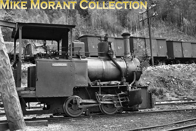 Australian industrial steam. 2' gauge North Mount Farrell Tramway, Tasmania.  0-4-0T Wee Georgie Wood.  Fowler18203/1924. Undated view taken at Tullah.  Wee Georgie Wood was saved and is still active. [Mike Morant collection}