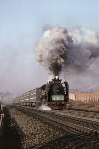 Chinese State Railway RM class pacific no. 1228, a Sifang works product, puts on a good show for the photographers at Changchun on 2/4/86. [Mike Morant collection]