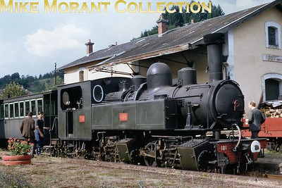 A 1969 heritage slide featuring PO Corrèze Mallet 0-4-4-0T no. 101 at Forges. No. 101 was built by Blanc-Misseron / Tubize in 1906 with works number 337/1473. We are fortunate that this engine is still with us at the Voies ferrées du Velay. [Mike Morant collection]