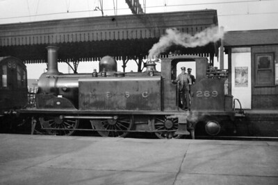 LBSCR, Stroudley D1 class 0-4-2T no. 269 at Clapham Jct. on 5/3/1921. No. 269, originally named Crawley, was built at Brighton in May 1880 and would be withdrawn as Southern Railway no. 2269 in February 1948 at Fratton shed. [H. C. Casserley / Mike Morant collection]