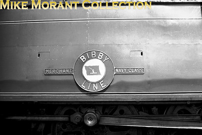 The Bibby Line nameplate affixed to Bulleid original 'Merchant Navy' pacific no. 35020. [Mike Morant collection]