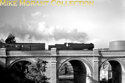 Bulleid Q1 class 0-6-0 no. C20 crosses the viaduct to the east of Branksome station in early 1948. C20 was an Eastleigh engine at the time and would be BR branded quite late, April 1950, and would continue to serve Eastleigh shed until June 1964. [Mike Morant collection]