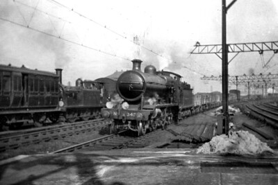 LBSCR, Billinton 'K' class 2-6-0 no. 343 in charge of a goods train on the Down Fast line at Clapham Junction on 28/2/1920. [H. C. Casserley / Mike Morant collection]